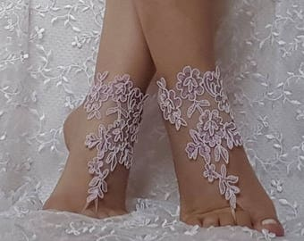 İavander  ivory  cord  light purple beach wedding barefoot sandals wedding prom party  beach anklet bangle bridal bride bridesmaid