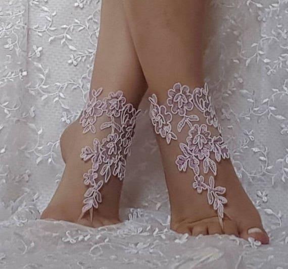 İavander  ivory  cord  light purple beach wedding barefoot sandals wedding prom party  beach anklet bangle bridal bride bridesmaid