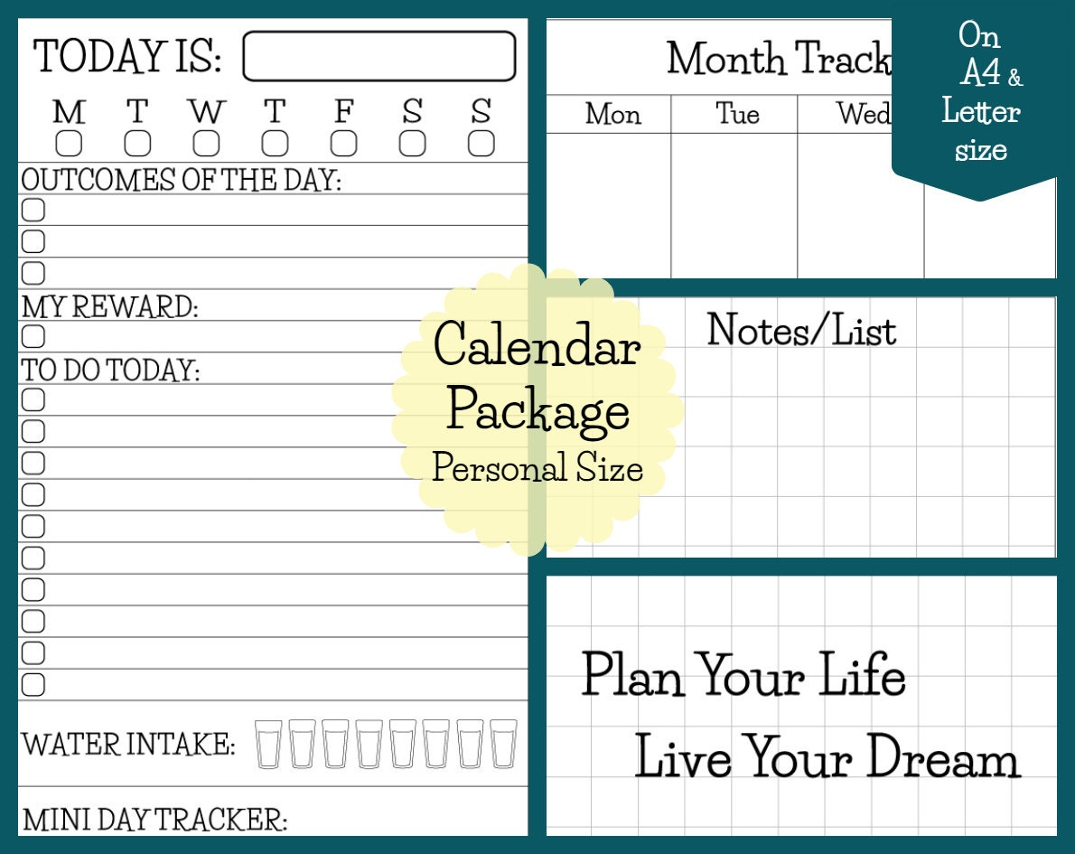 Calendar Package Personal Size Printable Inserts for Filofax