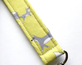Organic Fabric Keychain, Key Fob, Wristlet Lanyard, Grey Foxes , Green