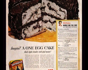 1952 Softasilk Cake Flour Ad - Marble Cake with Chocolate Frosting - Recipe - Wall Art - Kitchen Decor - Retro Baking Advertising