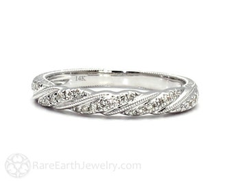 Engraved Diamond Wedding Ring Twisted Rope Antique Vintage Stacking Band 14K or 18K Gold and Platinum