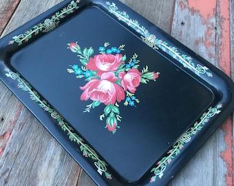 Vintage Metal Floral Tray