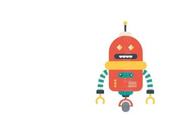 Niños Ilustracion - Robot tester - Automata - Ilustracion Infantil -Arte Robots - Ilustracion - Decoracion Infantil - Bebes - Tardis