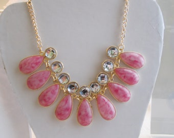 Pendant Necklace with Pink Teardrop Beads and Clear Beads on a Gold Tone Chain