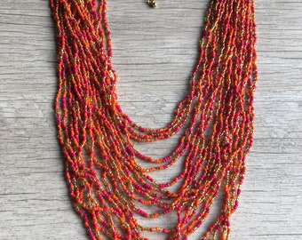 Necklaces for women, beaded necklace, Long necklace, Boho necklace, Tribal Necklace, multi strand necklace, necklaces for Spring