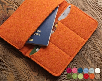Felt passport wallet, travel organizer, felt passport holder, felt case, phone cover iphone 8 X, samsung s6 j7, card holder, man wallet