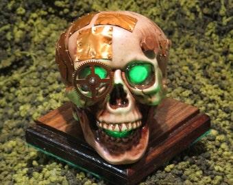 Steampunk light up Skull Green #134