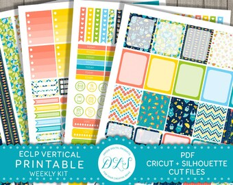 Weekly Planner Kit for Erin Condrenv Vertical Planner Stickers, ECLP Weekly Kit Printable, Summer Planner Stickers, Beach Planner, VS105