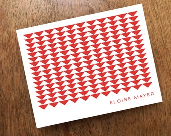 Personalized Note Card - Red Geo - Printable Template