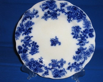 Flow Blue Lancaster Plate by New Wharf Pottery