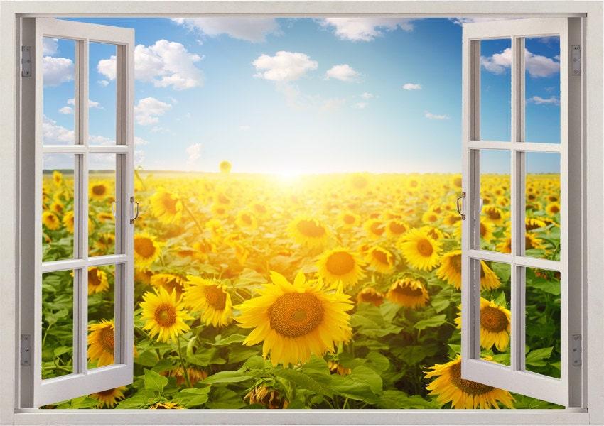 Sunflower wall decal 3D windowsunflower field decal landscape