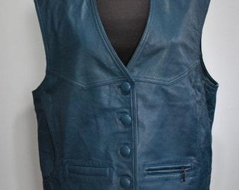 Vintage RAIN DROP women's leather vest .....(026)