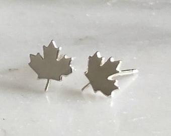Maple Leaf Stud Earrings, Maple Leaf Jewelry, Sterling Silver Maple Leaf Earrings, Canada Day Earrings, Canadian Studs, Canada Jewelry