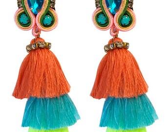 Fiesta Drop Earrings - Coral