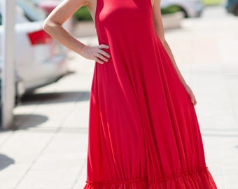 Summer Long & Maxi Dress, Red Maxi Dress, Women's Day Wear Clothing, Plus Size Dress, Sleeveless Cotton Red Dress, Loose Dress - DR0184TRCO