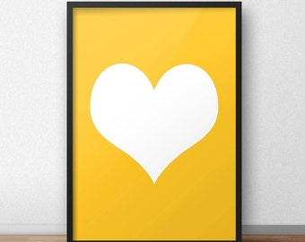 Mustard yellow and white love heart poster print for bedroom nursery playroom modern A4