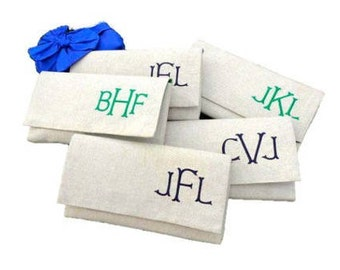 1 Custom Monogram Linen Clutch