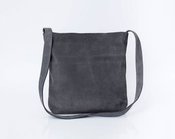 Gray Leather Tote, Suede Bag, Leather Crossbody, Soft Leather Bag, Suede Leather Bag, Magnet Closer, Carry on Bag, Lightweight, Handmade Bag