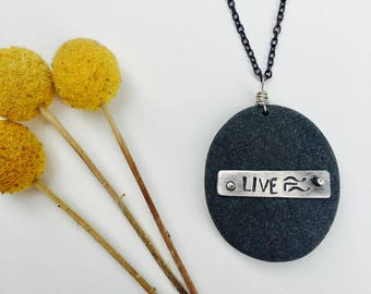 Natural Beach Stone Necklace- LIVE
