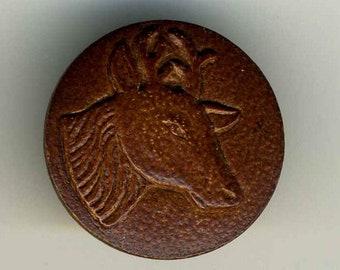 Vintage Button, Leather Deer Head