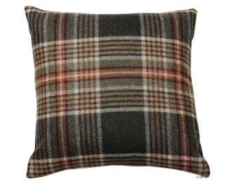 Ingleton Green Tweed Wool Plaid Checked Tartan Cushion Cover
