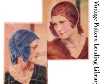 1929 Ladies Turban/Cloche With Bow - Reproduction Sewing Pattern #H1756