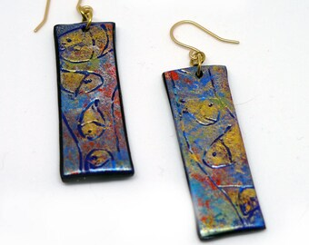 """Dainty Fish """"Sticks"""" Polymer Earrings, Joy to the Fishes in the Deep Blue Sea, Light as Air. Worldwide Shippiong."""