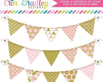 80% OFF SALE Pink and Gold Bunting Clipart Graphics Instant Download Banner Flags Clip Art Set with Polka Dots Triangles Chevron and Flowers