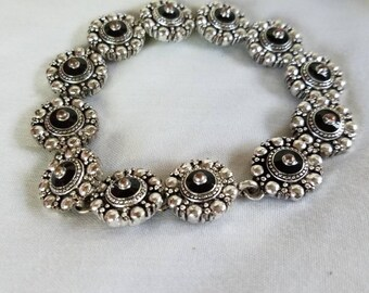 Vintage Avon silver tone and black bracelet