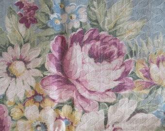 Vintage Barkcloth Fabric Curtains Roses  Shabby