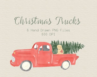 Christmas Truck Clipart / Christmas clipart / Truck Clipart / Christmas Tree Clipart / Holiday Clipart / Puppy Clipart / Old Fashion Truck