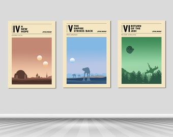 Poster Star Wars / Poster Star Wars set of 3 / A New Hope / The Empire Strikes Back / Return Of The Jedi / Star Wars Trilogy /Star Wars Gift