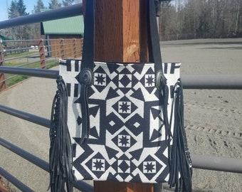 Black and White Pendelton wool with black fringe