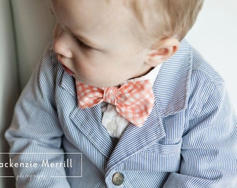 Boy's Organic Pink Coral Gingham Bow tie - clip on