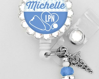 Ceil Blue Badge Holder, Retractable ID Badge Reel - Personalized Rhinestone Badge ID Reel - Medical-Nurse- Can put any Title (E149)