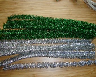 """Vintage tinsel stems silver or green 1/2"""" wide pipe cleaners kids crafts christmas crafting supplies wired chenille stems package ties"""