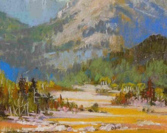 "Original Pastel Hazy Autumn Day, near Markleeville Califoirnia  5"" x 7"" Landscape California"