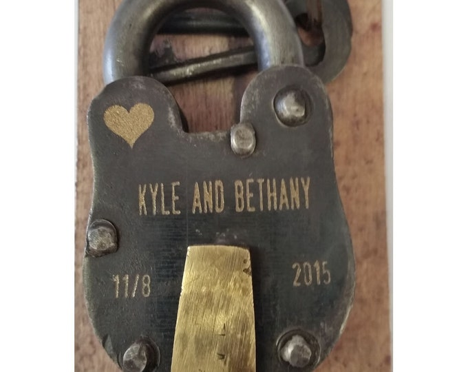 "6 Year Anniversary, Iron, ENGRAVED PADLOCK ""Love Lock"" Personalized, Wedding, Anniversary, Proposal, Gift"