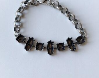 Bracelet Setting 15x7mm Navette Empty Cup Chain Bracelet Setting, Antique Silver Ox, Bracelet Making, Jewelry Base, Rolo Chain, Empty Cupcha