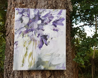 Lilac Forge, Original Acrylic Painting on Canvas, Flowers, purple