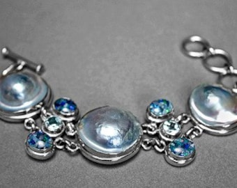 Round Blue Blister Pearl Mosaic Opal Blue Topaz Gemstone Sterling Bracelet 986