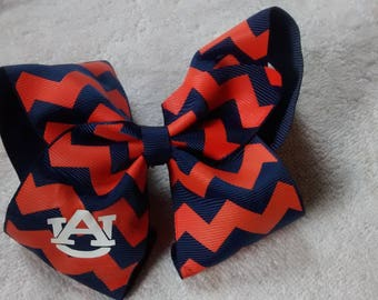 Orange and Blue hair bow   Your / your childs  Initials added FREE   CUTE