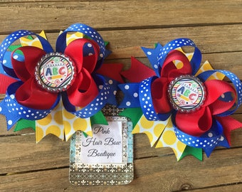 School pigtail hair bows , set of two , pigtail hair bows , school bows