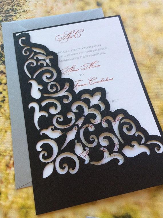 Lasercut Wedding Invitation Sleeve Pocket Elegant Scroll
