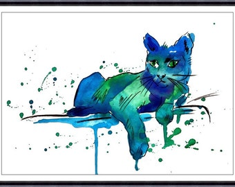 Cat Art Print - Watercolor Painting - Cat Print - Wall Decor, Wall Art