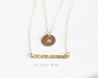 Double Strand Initial Necklace, Personalized Necklace, Gold or Silver Layer Necklace, Custom Initial Necklace, Gift for Her, The Silver Wren