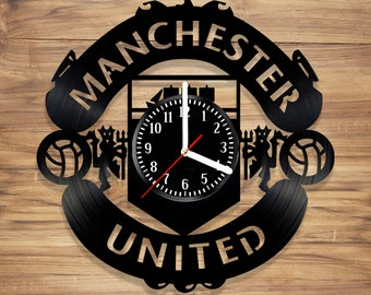 Manchester United F.C. Vinyl Record Wall Clock Football Club Red Devils Perfect Decorate Home Style UNIQUE GIFT idea for Him Her (12 inches)