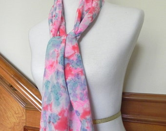 Hand Dyed Silk Scarf of Crepe de Chine Silk in Rose Red, Pink, and Blue-Green, Scarf # 308, Ready to Ship