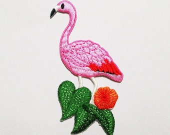 Embroidered Flamingo Patch.